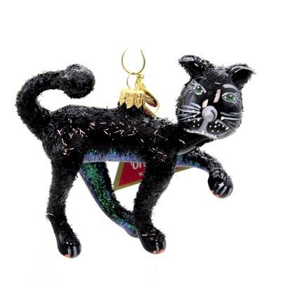"""Morawski 4.25"""" Black Glittered Cat Ornament Halloween Feline  -  Tree Ornaments"""