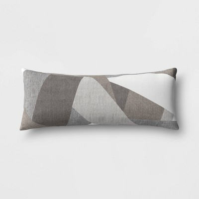 Sunbrella Axis Smoke Outdoor Lumbar Oversize Throw Pillow Gray - Project 62™