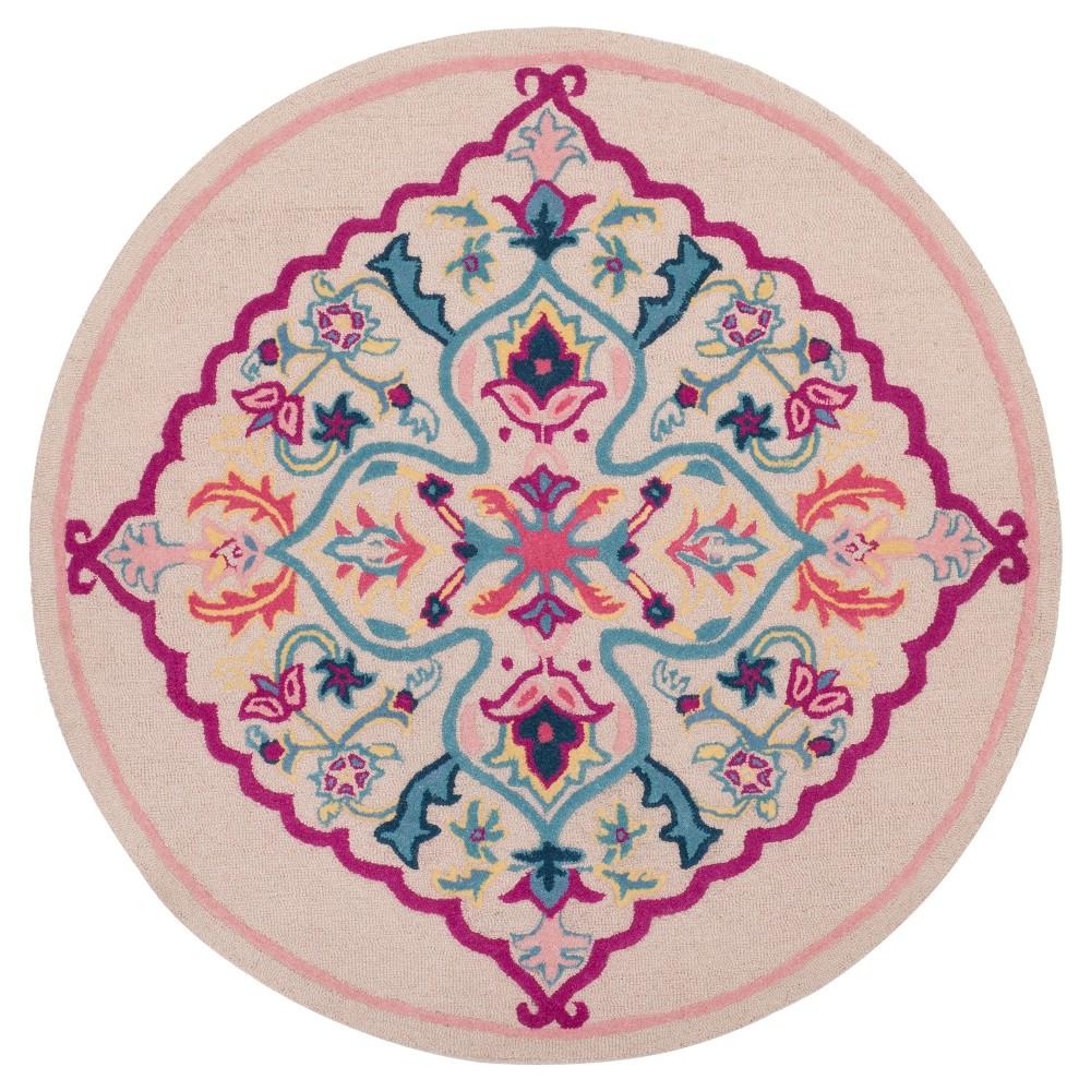 Light Medallion Tufted Round Area Rug 5' - Safavieh, Light Pink/Multi