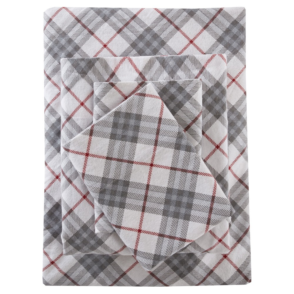 Flannel Print Cotton Sheet Set (Twin) Red Plaid
