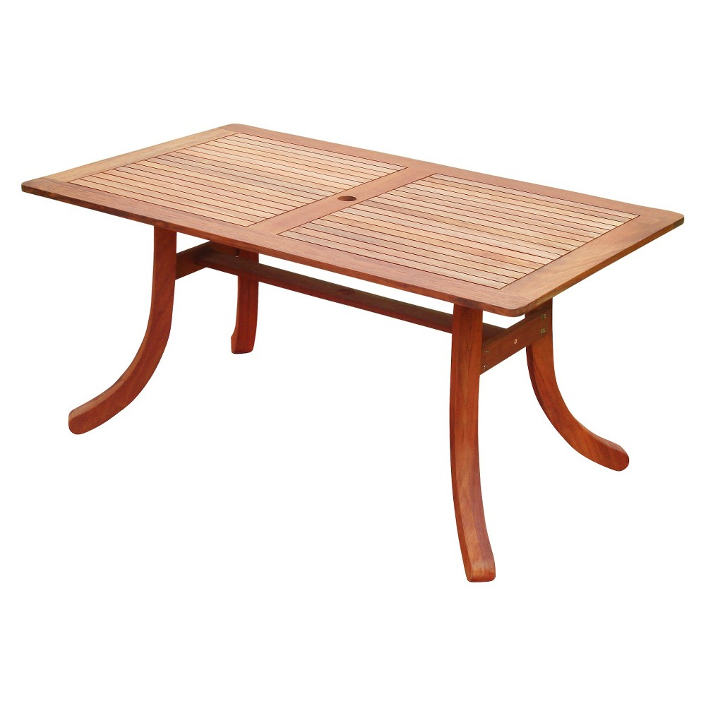 Vifah Eucalyptus Rectangular Outdoor Table With Curvy Legs - Brown