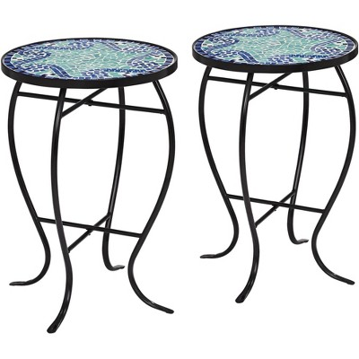 Teal Island Designs Ocean Wave Mosaic Black Iron Outdoor Accent Tables Set of 2