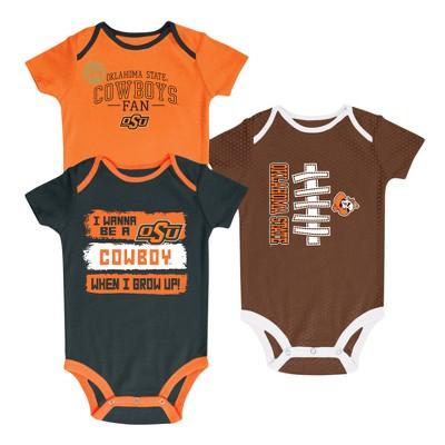 NCAA® Newborn Bundle of Joy 3pk Bodysuit Set Oklahoma State Cowboys - 0-3 M