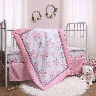 The Peanutshell Pink Floral Crib Bedding Set - 3pc