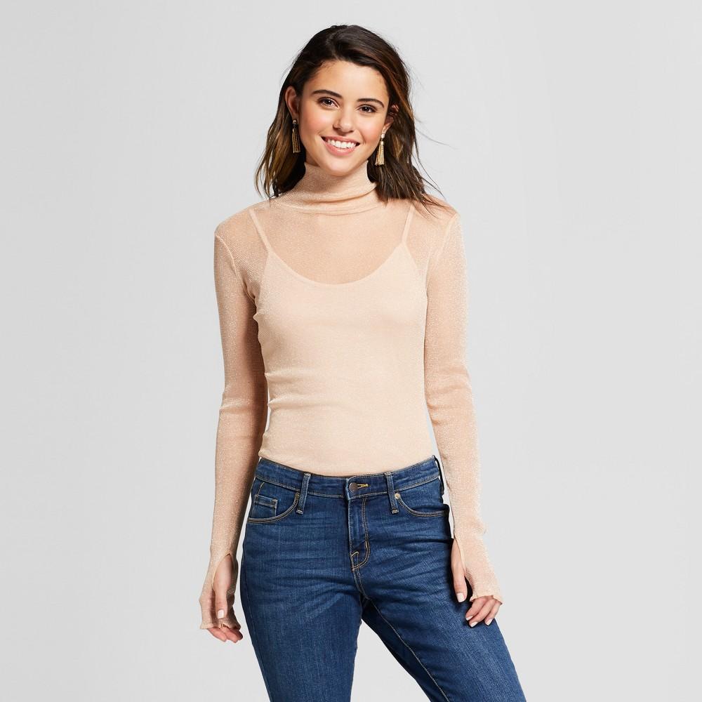 Women's Long Sleeve Mesh Blouse - Xhilaration Cream S, Beige