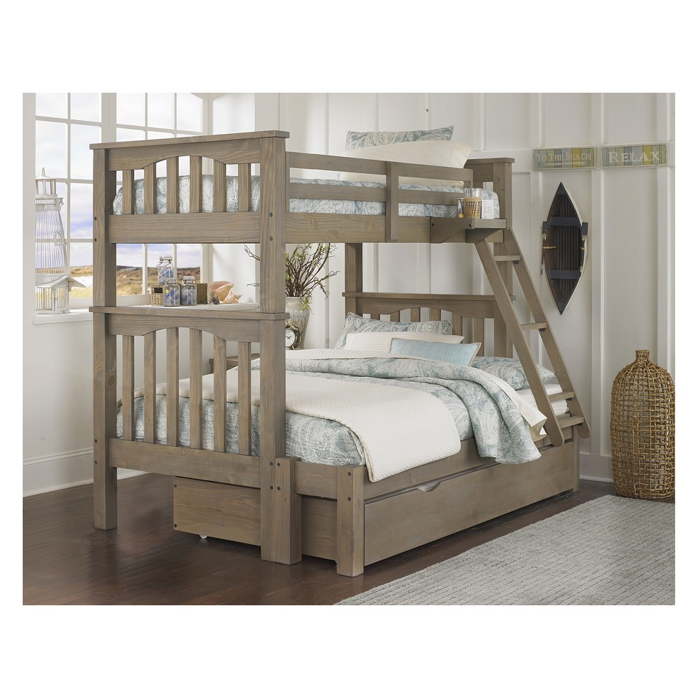 Twin Over Full Highlands Harper Bunk Bed with Trundle (Full Extension) Driftwood - Hillsdale Furniture, Brown