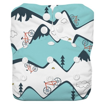 Thirsties All-in-One Snap Diaper, One Size - Mountain Bike