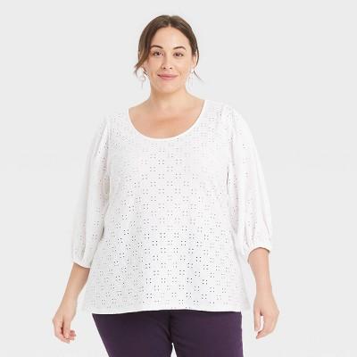 Women's Plus Size Puff Sleeve Eyelet Knit Blouse - Ava & Viv™