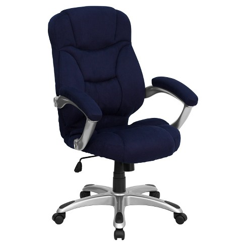 Contemporary Executive Swivel Office Chair - Navy Blue Microfiber - Flash Furniture - image 1 of 4