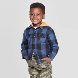Toddler Boys' Long Sleeve Hooded Buffalo Checked Button-Down Shirt - art class™ Blue