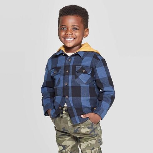 Toddler Boys' Long Sleeve Hooded Buffalo Checked Button-Down Shirt - art class™ Blue - image 1 of 3