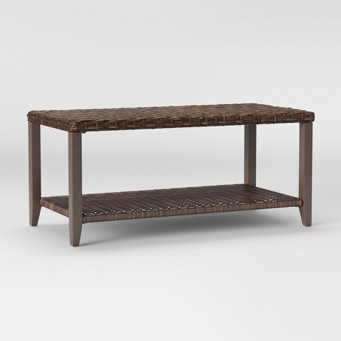+ 2 more - Halsted Wicker Rectangle Patio Coffee Table - Brown - Threshold