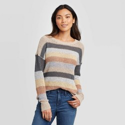 Women's Striped Crewneck Pullover Sweater - Knox Rose™ Oatmeal