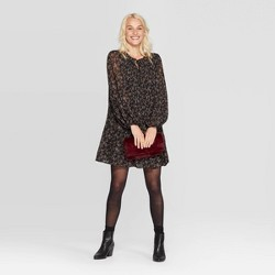 Women's Floral Print Bishop Long Sleeve Crewneck Pleated Shift Dress - A New Day™ Black