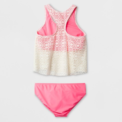 e00927e0a831e Malibu Dream Girl Girls  Effervescent Crochet Tankini Set   Target