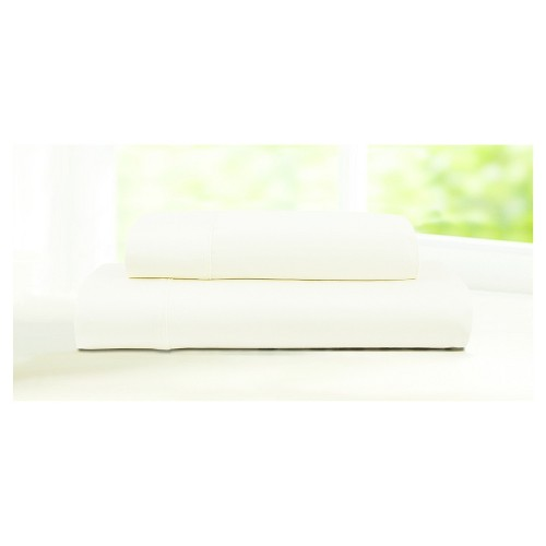 King 4pc 600 Thread Count Deep Pocket Solid Sheet Set Ivory - Tribeca Living
