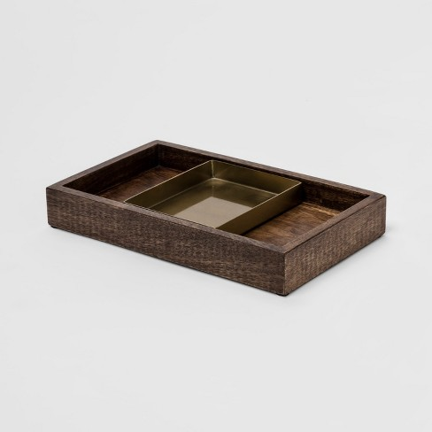 "10.2"" x 6"" Decorative Wood and Metal Nested Tray Brown/Gold - Project 62™ - image 1 of 2"