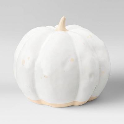 """6.75"""" x 8"""" Decorative Ceramic Pumpkin Cream - Threshold™"""