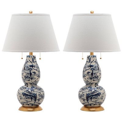 Set of 2 Color Swirls Glass Table Lamp (Includes LED Light Bulb) Navy/White - Safavieh