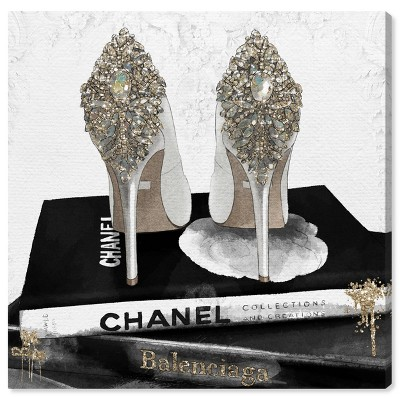 """12"""" x 12"""" My Trophies Gold Glitter Fashion and Glam Unframed Canvas Wall Art in Black - Oliver Gal"""