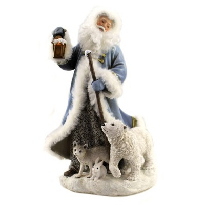 "Christmas 10.75"" Santa With Polar Bear Figurine Woodland  Bear Fox Rabbit  -  Decorative Figurines"