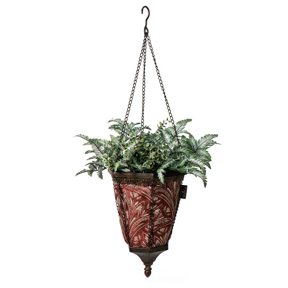 Image of Naya Hanging Fabric Planter With Zanzibar Berry Liner - Black - Bombay Outdoors