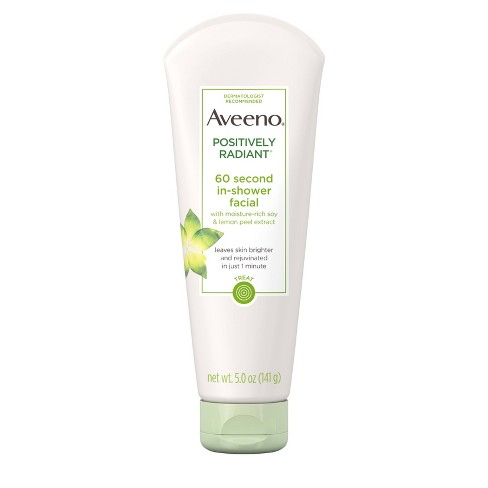 Aveeno Positively Radiant 60 Second Soy Extract Shower Facial Cleanser - 5oz - image 1 of 4
