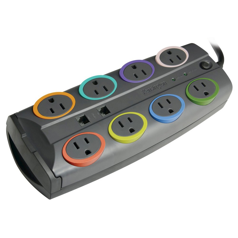 Kensington SmartSockets Standard Adapter Surge Protection with 8 Outlet 2490 Joules and 8 cord - Black (XU1094) The Kensington SmartSockets Standard Surge Protector provides superior surge protection to your electronics against power spikes, brown outs, and black outs. Large enough for multiple adapter-sized plugs, each port has color-coded rings with matching color labels for easy connected equipment identification and cord management. 8-outlet, 8-ft cord, with 2490 joule rating. Right-angled plug for easy accessibility. $35,000 limited connected equipment warranty.