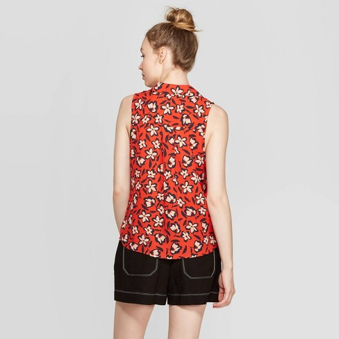 55ba8c8f Women's Floral Print Sleeveless V-Neck Button-Down Shirt - Who What Wear™  Red