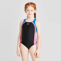 Speedo Girls' Solid Splice One Piece Swim Suit - Black