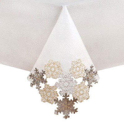 Ornate Snowflake Elegant Cutwork Winter Holiday Fabric Metallic Tablecloth