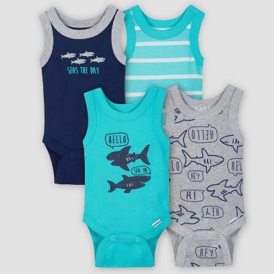 Gerber Baby Boys' 4pk Shark Sleeveless Onesies Bodysuit - Green/Blue 6-9M