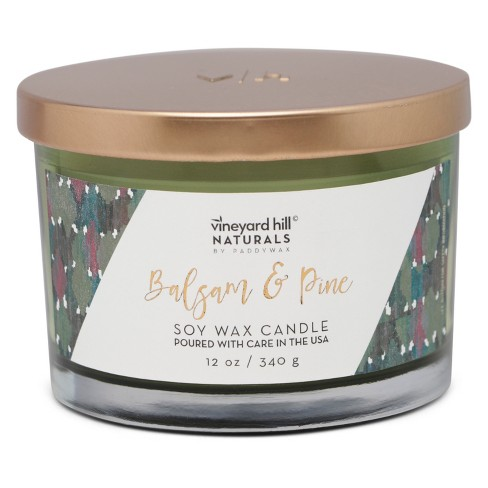 12oz Glass Jar 3-Wick Candle Balsam & Pine - Vineyard Hill Naturals By Paddywax - image 1 of 2