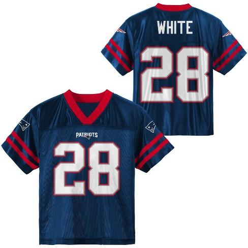 NFL New England Patriots Boys' James White Short Sleeve Jersey - L