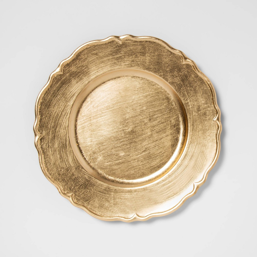 "Image of ""12.9"""" Plastic Scalloped Decorative Charger Gold - Threshold"""
