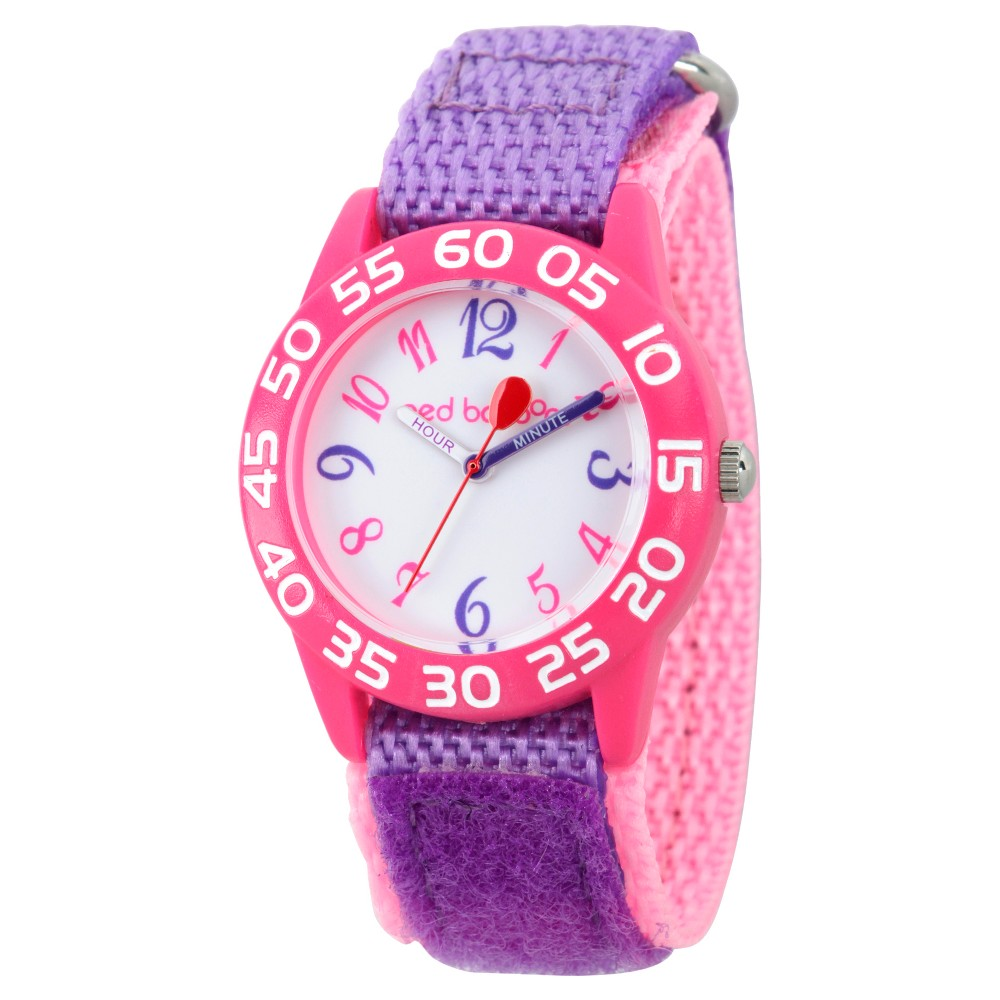 Image of Girls' Red Balloon Pink Plastic Time Teacher Watch - Purple, Girl's