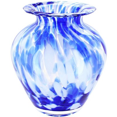 Blue Rose Polish Pottery Cobalt and Opal Glass Vase
