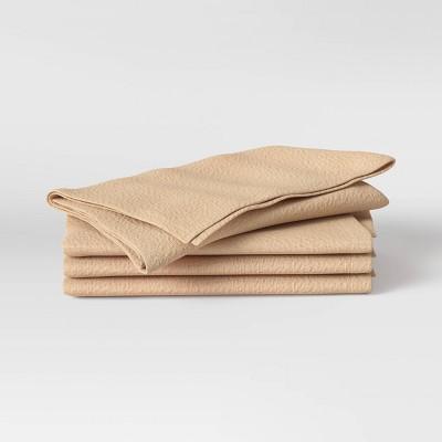 4pk Cotton Easy Care Napkins Brown - Threshold™