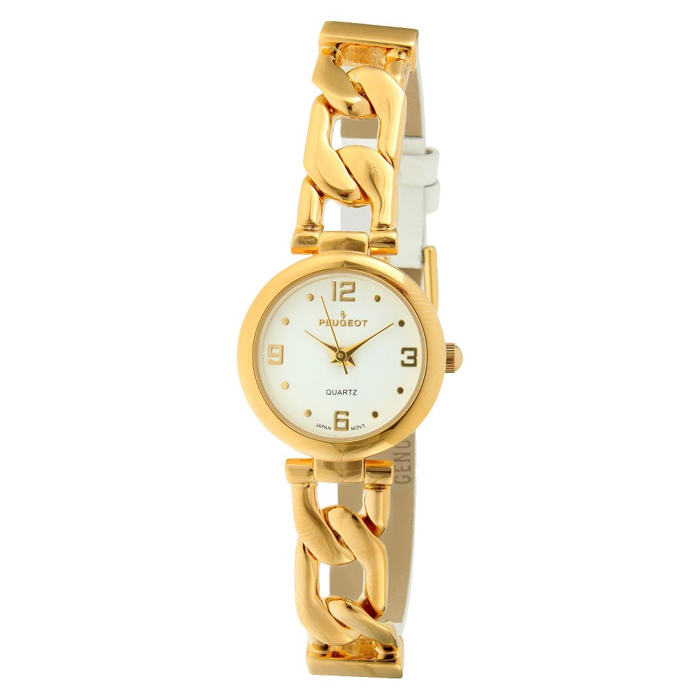 Women's Peugeot Half Leather Gold-tone Link White Dial Wa...