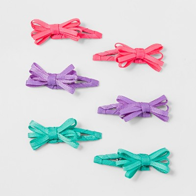 Toddler Girls' 6pk Mini Bow Hair Clip Set - Cat & Jack™ Pink/Purple/Aqua