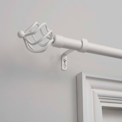 """36""""-72"""" Adjustable Torch Curtain Rod and Coordinating Finial Set Matte White - Exclusive Home"""