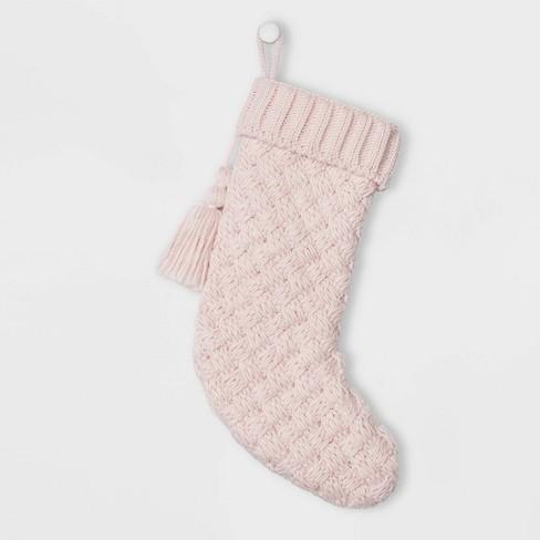 Basket Weave Cable Knit Christmas Stocking Pink - Wondershop™ - image 1 of 1
