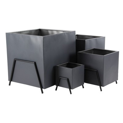 Set of 4 Modern Square Tin Plant Stands Black - Olivia & May
