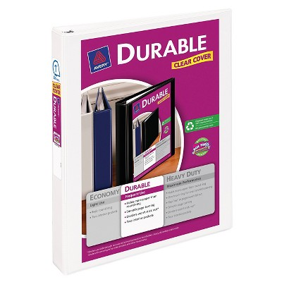 Avery 1 3 Ring Binder with Durable Clear Cover White Target