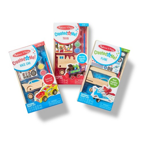 Melissa & Doug Decorate-Your-Own Wooden Craft Kits Set - Plane, Train, and Race Car - image 1 of 4