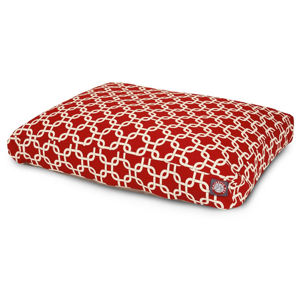 Majestic Pet Rectangle Dog Bed - Red Links - Small, Cherry Tomato