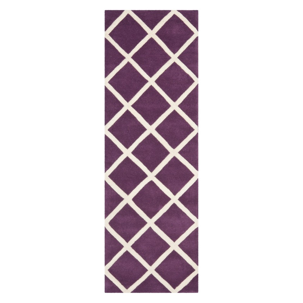 23X7 Geometric Tufted Runner Purple/Ivory - Safavieh Best