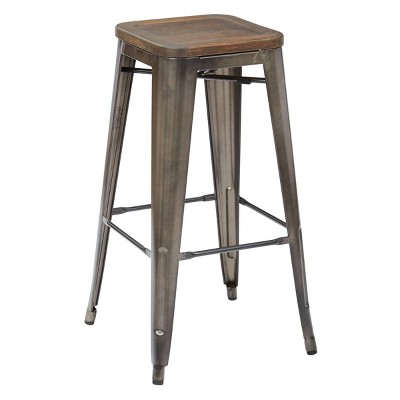 "Set of 2 30"" Indio Steel Barstools Walnut - OSP Home Furnishings"