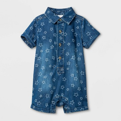 Baby Boys' Americana Denim Romper - Cat & Jack™ Blue 3-6M