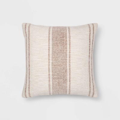 "18""x18"" Woven Striped Square Throw Pillow Bronze/Cream - Threshold™"